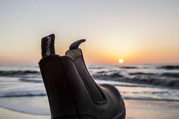 Blue Heeler boots on beach